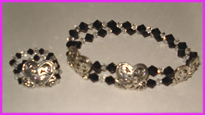 (W) Black Crystal Heart 2 Bracelet and Ring-