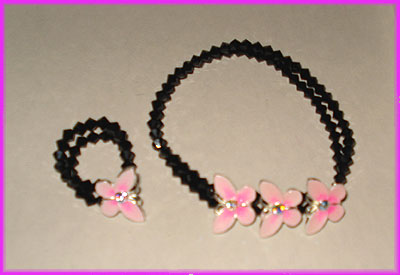 (1A) Black and Pink Butterfly Bracelet and Ring-