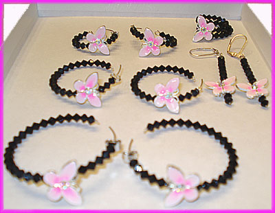 (1B) Black Pink Butterfly Earrings and Ring-