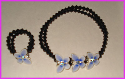 (1D) Black Blue Butterfly Bracelet and Ring-