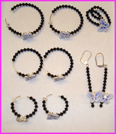 (1D) Black Blue  Butterfly Earrings and Ring-