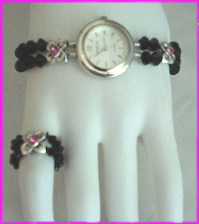 (1V) Round Rose X Watch and Ring-