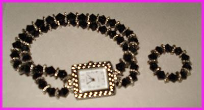 (2B) Black Swirl Watch and Ring-