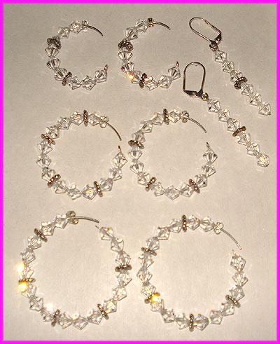 (C) Crystal 3 Bead Earrings-