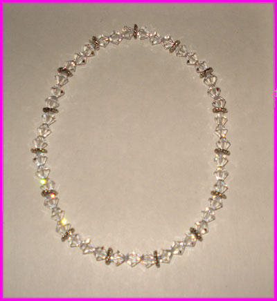 (C) Crystal 3 Bead Anklet Without Heart-