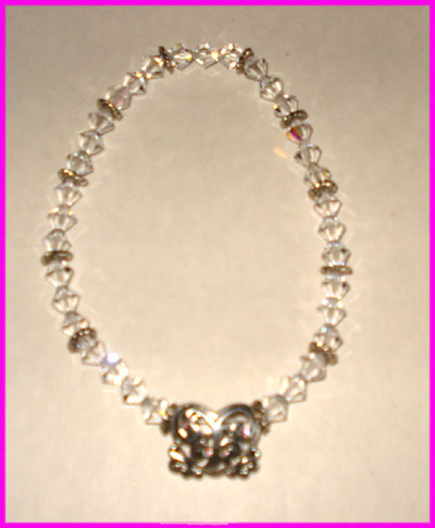 (C) Crystal 3 Bead Anklet with Heart-