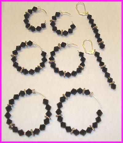 (D) Black Crystal  3 Bead Swirl Earrings-