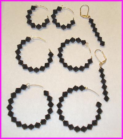 (F) Black Crystal Earrings-