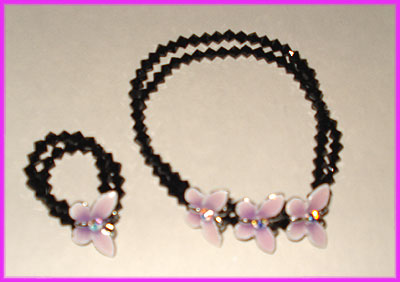 (J) Black Lilac Butterfly Bracelet and Ring-
