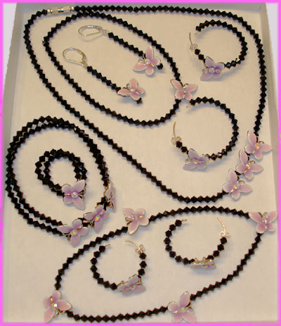 (J) Black Lilac Butterfly Necklace Deluxe Set-