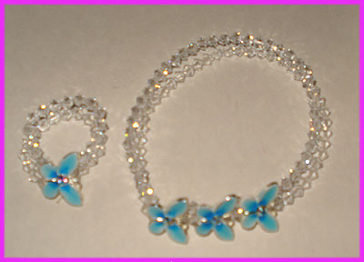 (K) Crystal Blue Butterfly Bracelet and Ring-