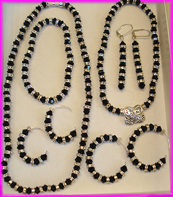 (L1) Black Crystal Bridal Set-