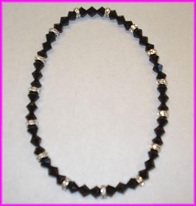 (WW) Black 3 Stone Rondelle Anklet-