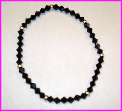 (YY) Black Sterling Silver Rondelle Anklet-